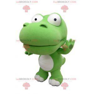 Riesiges grünes und weißes Krokodilmaskottchen. Dinosaurier