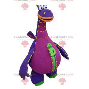 Giant green and orange purple dragon mascot - Redbrokoly.com