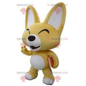 Maskot žluté a bílé lišky. Maskot štěně - Redbrokoly.com