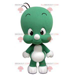 Cute and funny little green and white mascot - Redbrokoly.com