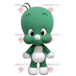 Nettes und lustiges kleines grünes und weißes Maskottchen -