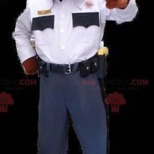 Hnědý a bílý pes maskot v policejní uniformě - Redbrokoly.com
