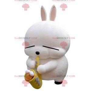 Stor hvit kaninmaskot med saksofon - Redbrokoly.com