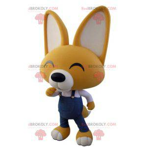 Yellow and white fox mascot in overalls - Redbrokoly.com