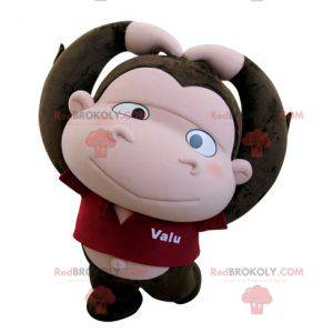 Hnědý a růžový maskot opice s velkou hlavou - Redbrokoly.com