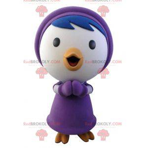 Blue and white bird mascot in winter outfit - Redbrokoly.com