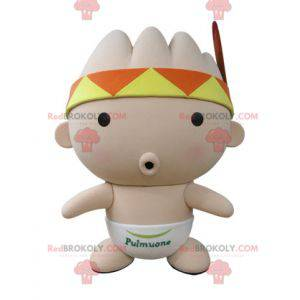 Pink baby mascot with a bandana and a feather - Redbrokoly.com