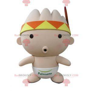 Rosa Babymaskottchen mit einem Kopftuch und einer Feder -