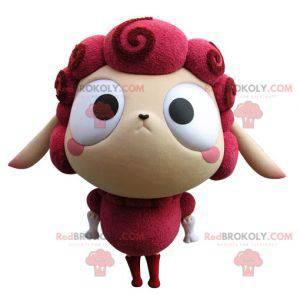 Mascota de oveja rosa y beige muy divertida - Redbrokoly.com