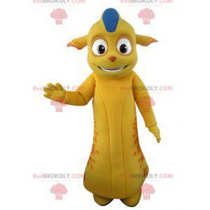 Maskot žluté a oranžové monstrum se špičatými ušima -