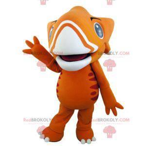 Velmi působivý oranžový a žlutý dinosaurský maskot -