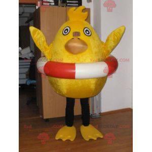 Maskottchen gelbes Küken mit einer Rettungsleine -