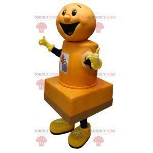 Riesiges und lächelndes gelbes Stempelkissenmaskottchen -
