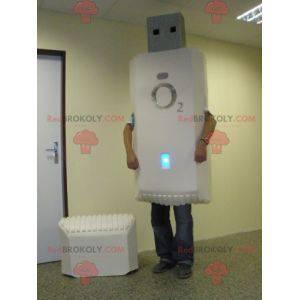 Gigantisk hvit USB-nøkkel maskot - Redbrokoly.com