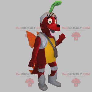 Mascotte del cane drago rosso vestita come un cavaliere -