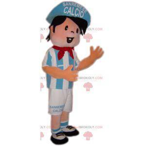 Maskotka chłopiec piłkarz w kolorze niebieskim i białym -