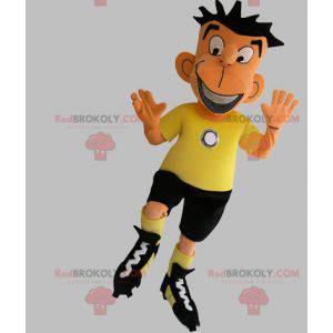 Maskot fotbalista v černé a žluté oblečení - Redbrokoly.com