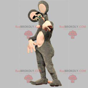 Very funny gray and pink mouse mascot - Redbrokoly.com