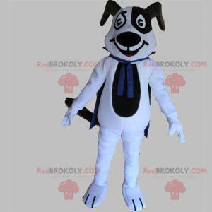 Černobílý psí maskot s modrým pláštěm - Redbrokoly.com