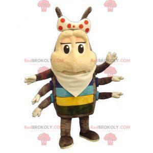 Maskot hmyzu blecha hnědá a béžová 6 nohou - Redbrokoly.com