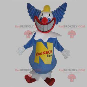 Blaues und weißes Clownmaskottchen mit einem breiten Lächeln -
