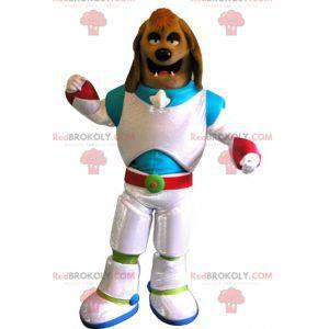 Brun hundemaskot kledd som en kosmonaut - Redbrokoly.com
