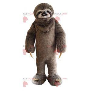 Mascote-preguiça peludo marrom e branco - Redbrokoly.com