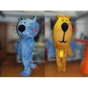 2 mascots a blue cat and a brown bear - Redbrokoly.com