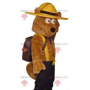 Maskot medvěd hnědý v průzkumník oblečení - Redbrokoly.com