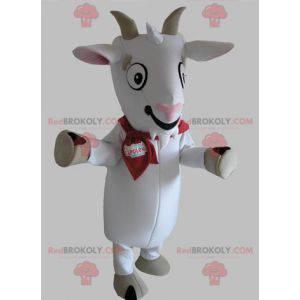Geit mascotte witte en grijze geit - Redbrokoly.com