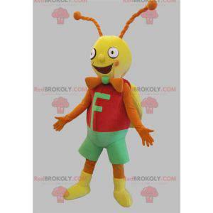 Maskot kobylka motýl červená žlutá a oranžová a zelená -