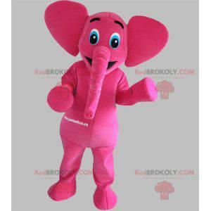 Rosa Elefantenmaskottchen mit blauen Augen - Redbrokoly.com