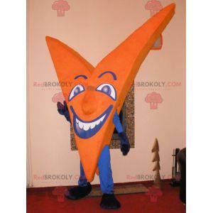 Oranžový a modrý maskot ve tvaru písmene V. Dopis v -