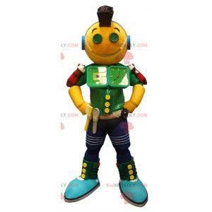 Veldig morsom gulgrønn og blå robotmaskott - Redbrokoly.com