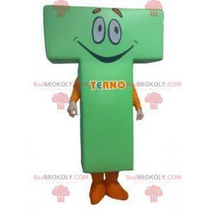 Green and orange letter T shaped mascot - Redbrokoly.com