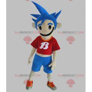 Jungenmaskottchen mit blauen Haaren - Redbrokoly.com