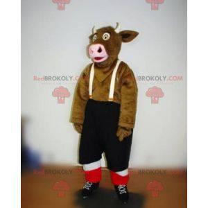 Brown cow mascot with suspender shorts - Redbrokoly.com