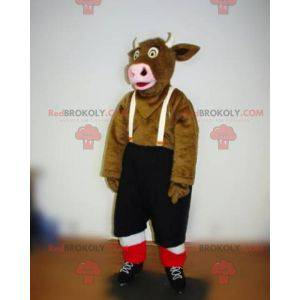 Brun ku maskot med seler shorts - Redbrokoly.com