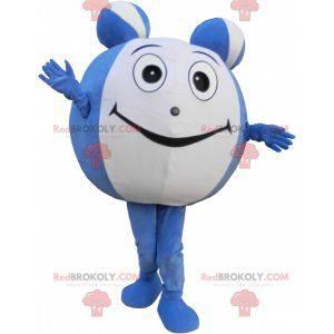 Maskot obří modrá a bílá koule. Kulatý maskot - Redbrokoly.com