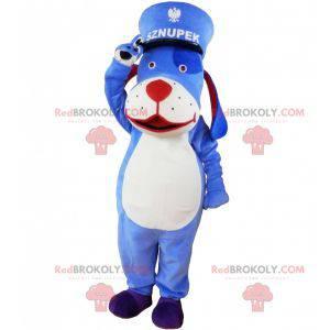 Blue and white dog mascot with a kepi. Blue animal mascot -