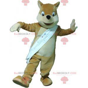 Maskot liška světle hnědá béžová a bílá - Redbrokoly.com