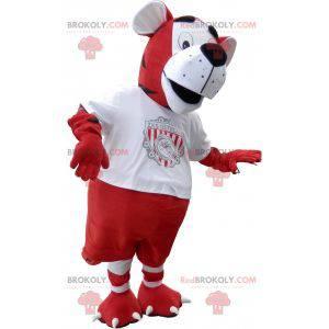 Maskot tygr v červené a bílé fotbalové oblečení - Redbrokoly.com