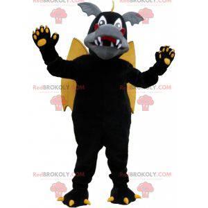 Geflügeltes Drachenmaskottchen schwarz grau und gelb -