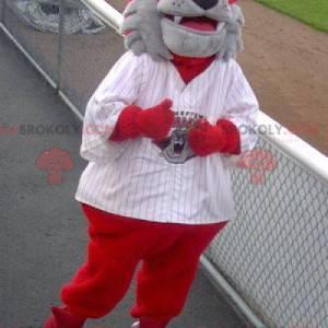 Šedý a červený pes medvěd maskot - Redbrokoly.com