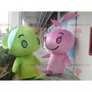 2 mascots of giant green and pink snowmen - Redbrokoly.com