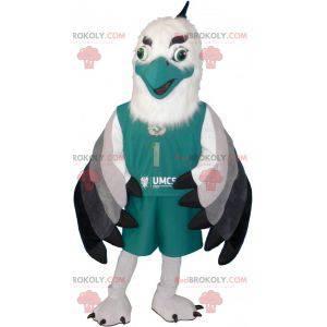 Maskot bílý a zelený pták ve sportovním oblečení -