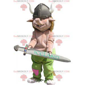 Realistic viking mascot with his helmet and sword -