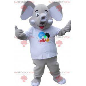 Maskottchen grauer Elefant mit großen Ohren - Redbrokoly.com