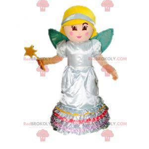 Mascote de fada loira. Princesa mascote com asas -