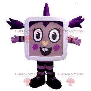 Tablet TV liten jente maskot - Redbrokoly.com